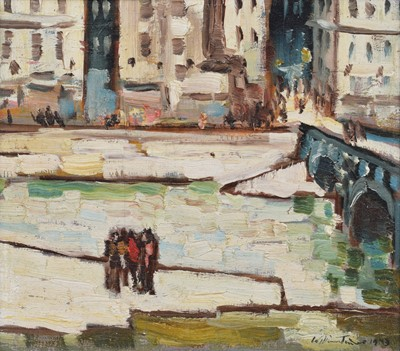 """Lot 34 - William Turner, """"A Group of Figures by the Seine"""", oil."""