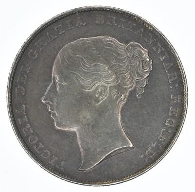 Lot 50-Queen Victoria, Shilling, 1843, EF.