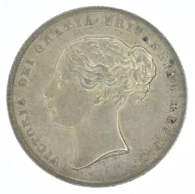 Lot 51-Queen Victoria, Shilling, 1845, EF.
