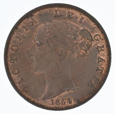 Lot 70-Queen Victoria, Halfpennies, 1854, gEF and VF (2).