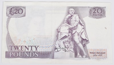 "Lot 37 - Elizabeth II, Series ""D"" Pictorial Twenty Pounds Error Banknote, EF."