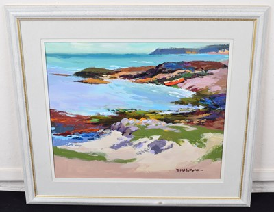 "Lot 38-Donald McIntyre, ""Red Boat, Iona"", acrylic."