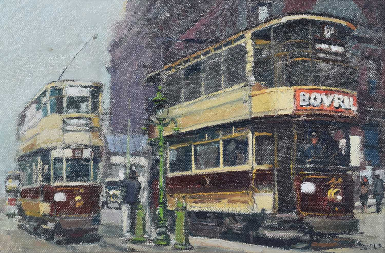"Lot 39-Anthony Butler, ""Trams - Lime Street, Liverpool, 1934"", oil."