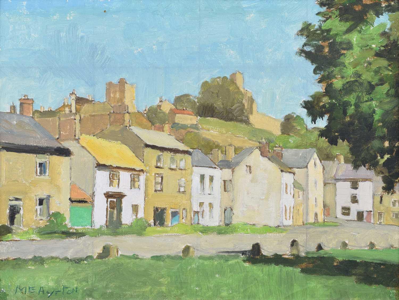 Lot 40-Millicent Ayrton R.Cam.A., M.B.E. (British 1913-2000), Village scene, oil.