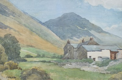 "Lot 41 - Millicent Ayrton, ""Cumbrian Farm"", watercolour."