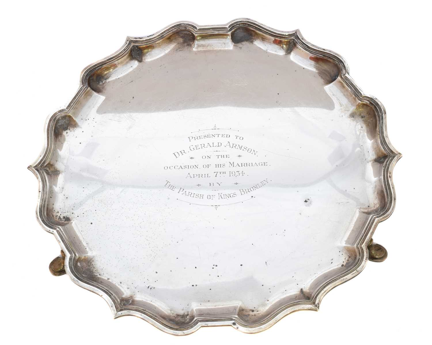 Lot 27-A George V silver salver