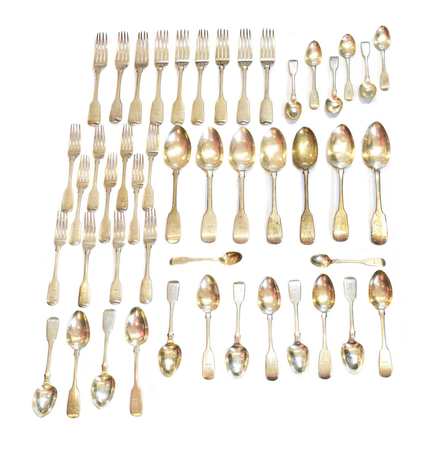 Lot 28-A selection of George IV and later silver flatware