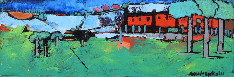"Lot 45-Amrik Varkalis, ""Three Trees"", acrylic."