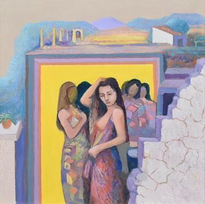 "Lot 46 - John Picking, ""Village Dream II"", oil."