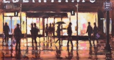 """Lot 47 - David Farren, """"Shoppers and Window Reflections"""", acrylic and a book (2)."""