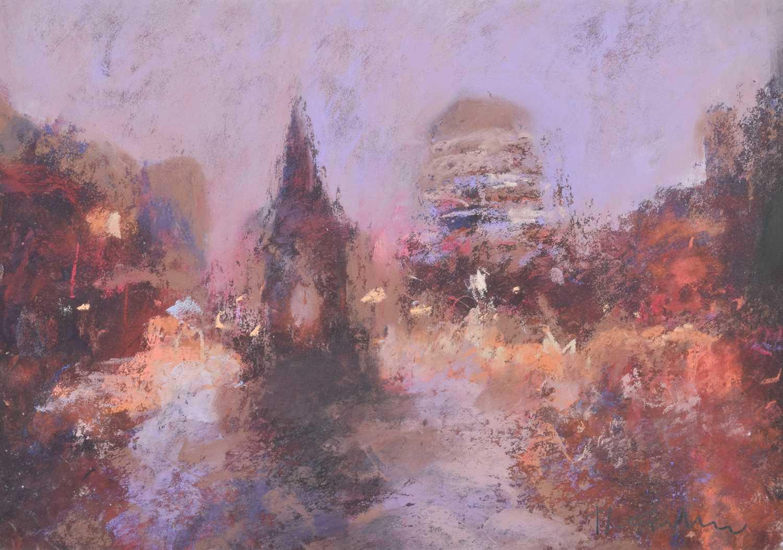 """Lot 49-Marc Grimshaw, """"Winter Dusk, Albert Square"""", pastel."""