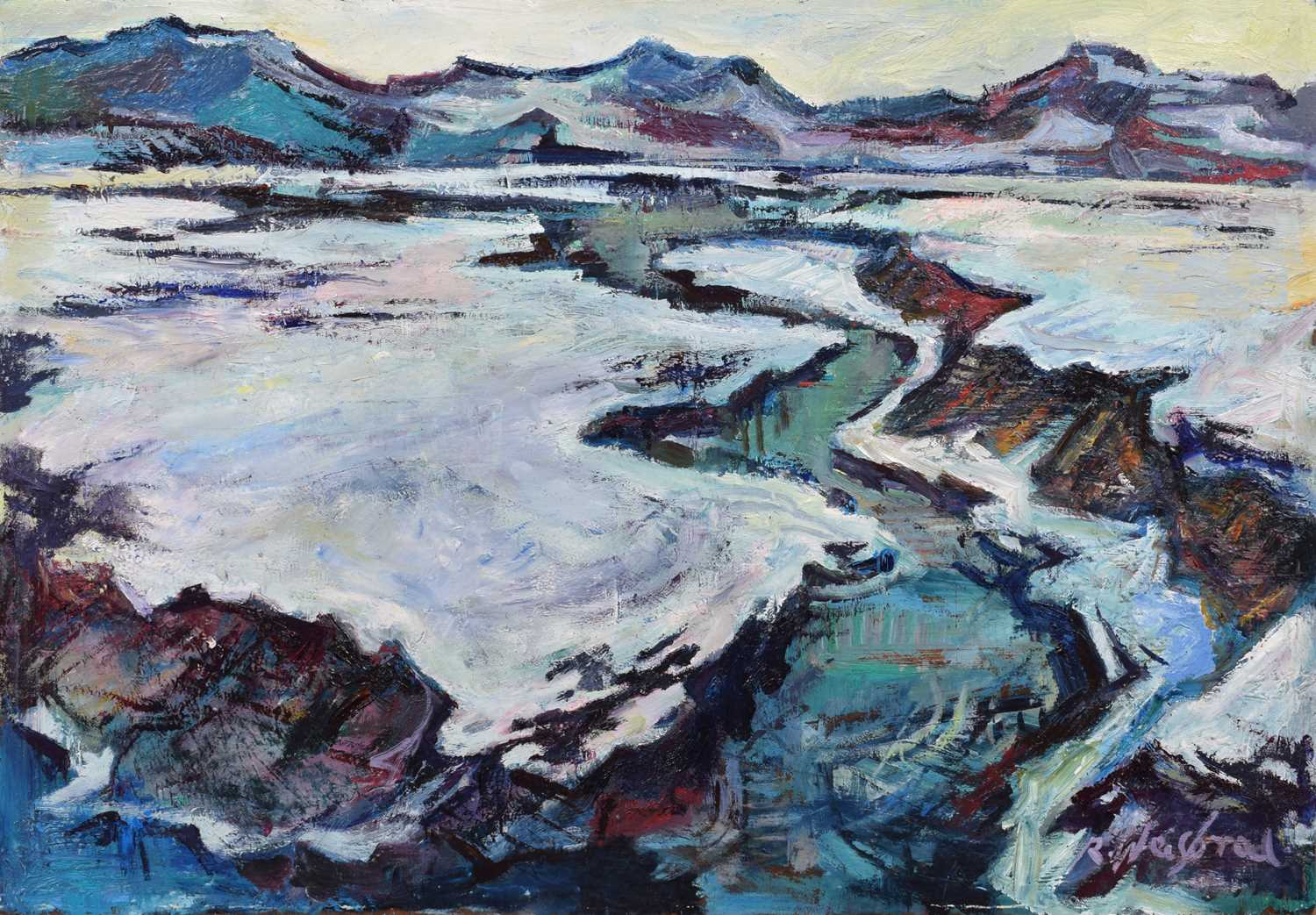"Lot 52-Richard Weisbrod, ""Snow Scene"", oil on board."