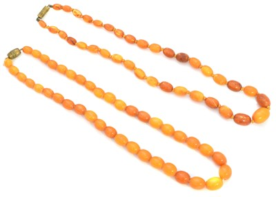 Lot 120 - Two butterscotch amber necklaces