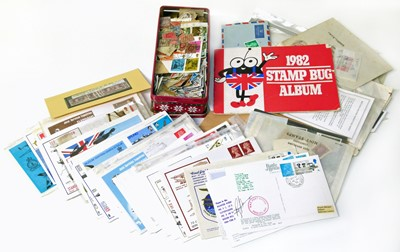 Lot 90-Mainly GB stamp collection in shoebox with many mint blocks plus approx. 55 flown covers or cards, 12 of which are signed.