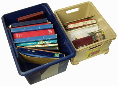 Lot 79-Large all world stamp collection in two cartons with 20 albums or stockbooks, stamps in packets and loose plus two small binders of miniature sheets.
