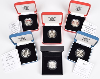 Lot 87-Collection of six Royal Mint, Queen Elizabeth II BU One Pound coins, in original cases (6).