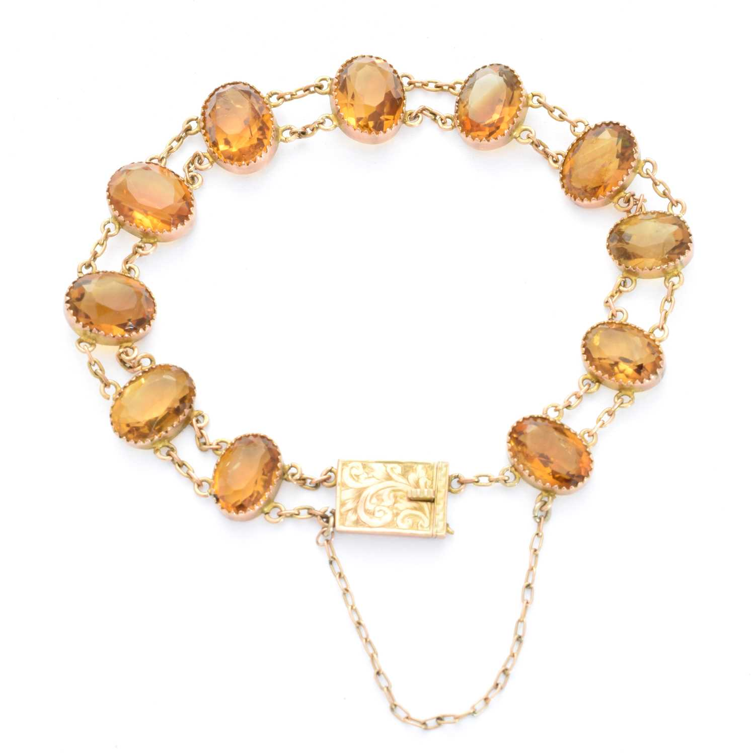 Lot 3-An early 20th century citrine bracelet