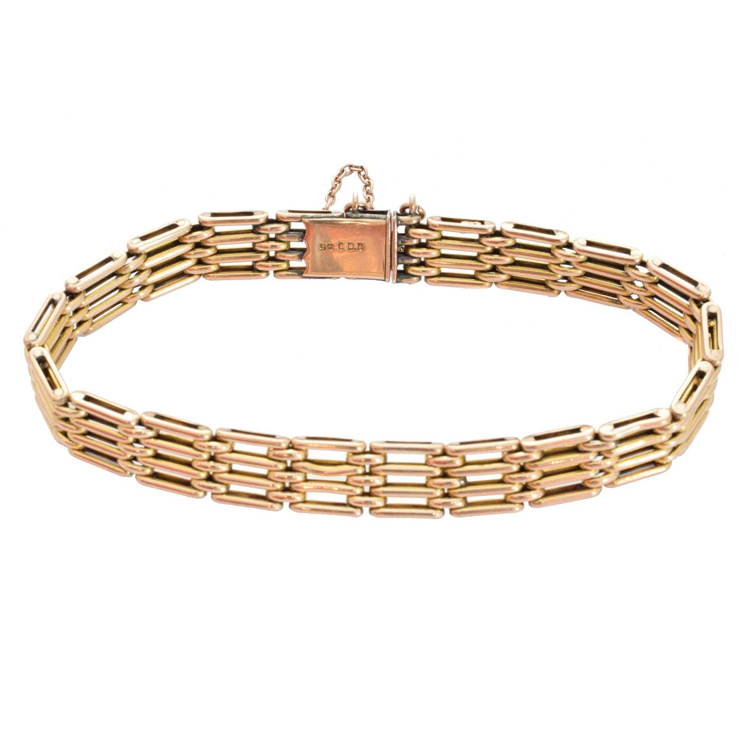 Lot 7-A 9ct gold bracelet by Charles Daniel Broughton