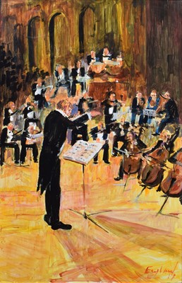 """Lot 65 - Frederick England, """"Orchestral Event - The Conductor Convenes"""", acrylic."""