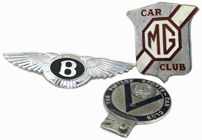 Lot 14-M.G. Car Club, The Vintage Car Club and Bentley Car badges.