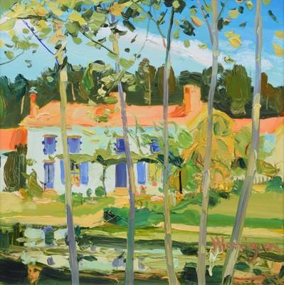 """Lot 103 - James Harrigan, """"Riverside Poplars"""", oil."""