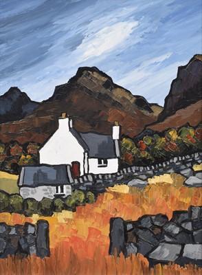 "Lot 63 - David Barnes (British 1943-), ""Snowdonian Cottage"", oil."