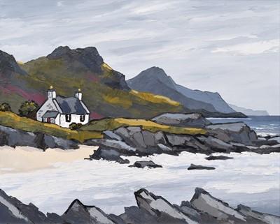 "Lot 61 - David Barnes (British 1943-), ""Fisherman's Bothy on the West Coast"", oil."