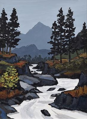 """Lot 66 - David Barnes (British 1943-), """"In the Llugwy Valley"""", oil."""