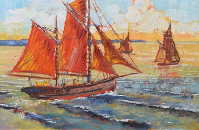 Lot 68 - Gerry Blood, Coastal view with sailing boats, oil on canvas.