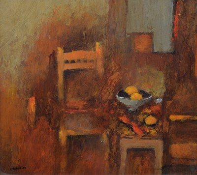 Lot 70 - George Kennerley (1908-2009), Interior scene with bowl of fruit, oil.