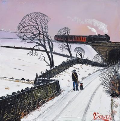 "Lot 74 - James Downie (British 1949-), ""Station Road"", oil."