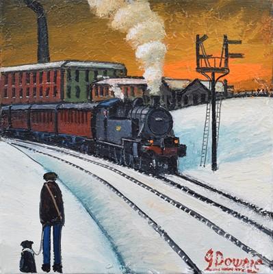 "Lot 77 - James Downie (British 1949-), ""Train Leaving Station"", oil."