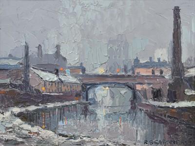 "Lot 76 - Reg Gardner (British 1948-), ""The River Irwell in Winter"", oil."