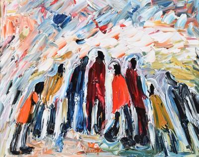 Lot 78 - Albert Barlow (British 1944-), Figure group, oil.