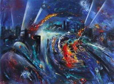 """Lot 79 - David Wilde (British 1918-1978), """"Salford Docks Blitz"""", acrylic."""