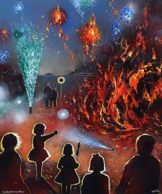 "Lot 80 - David Wilde (British 1918-1978), ""The Big Bonfire at Aber"", acrylic."