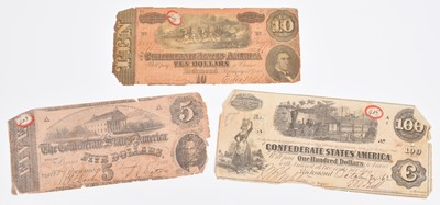 Lot 23-Three American Civil War - Confederate States, Richmond banknotes and related letter.