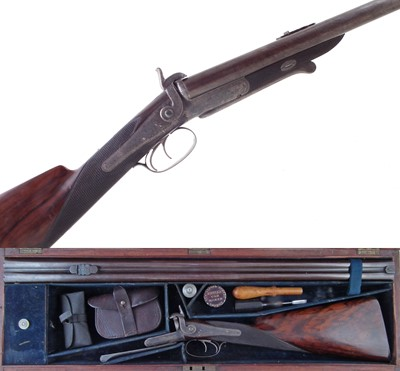 Lot -Reilly double barrel pinfire rifle in case.