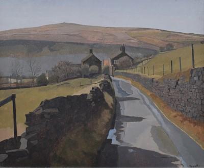 "Lot 107 - Russell Howarth (British 1927-2020), ""Crib Lane, Dobcross, Saddleworth"", oil."