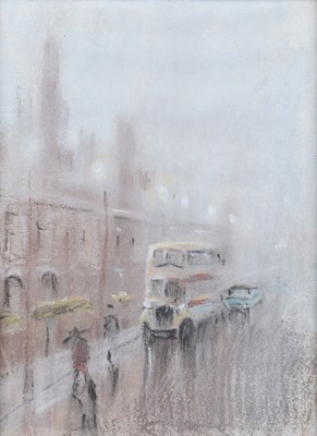 Lot 93 - Reg Gardner (British 1948-), Manchester street scene, pastel.