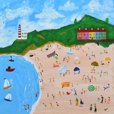 """Lot 88 - Vincent Dott, """"Happy Day at the Beach"""", oil."""