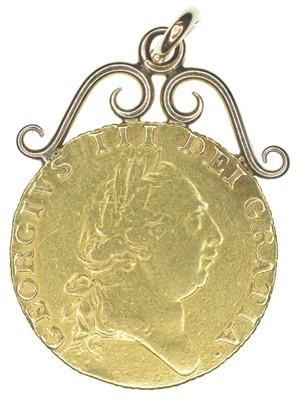 Lot 82-King George III, Guinea, 1787, mounted.