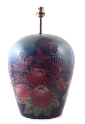 Lot 153 - Large Moorcroft birds pecking fruit lampbase