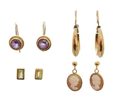 Lot 42-A selection of earrings
