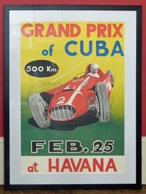 Lot 19-Cuban Grand Prix poster by Re-print for 1958 etc.
