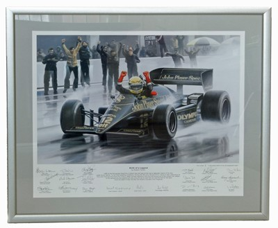 """Lot 9-""""Birth of a Legend"""" Senna in JPS Lotus, signed by the race team."""