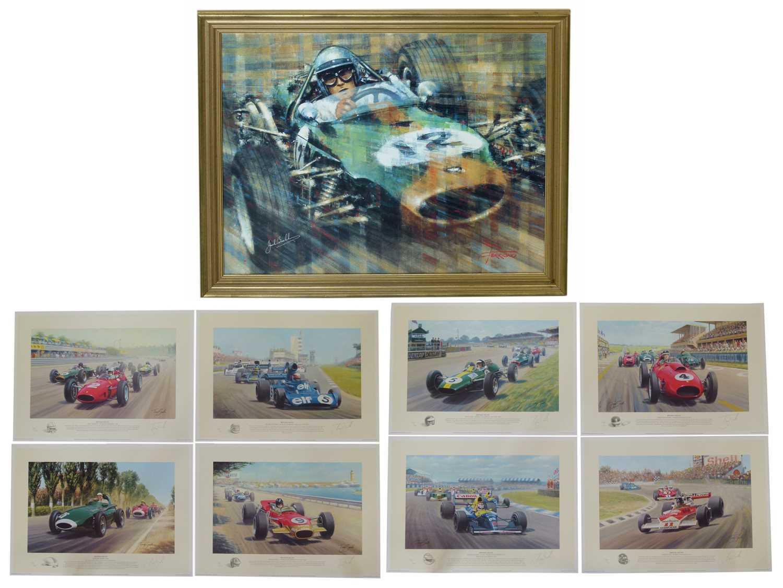 Lot 23-Print on canvas, Jack Brasham signed by Brabham etc.