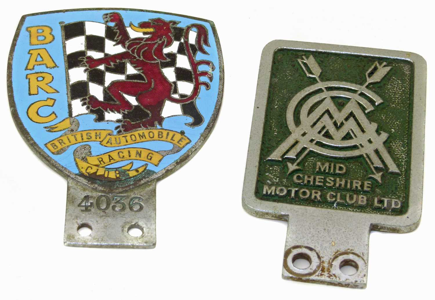 Lot 12-British Automobile Racing Club (BARC) badge and a Mid Cheshire Motor Club Badge.