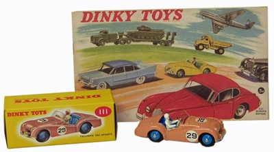 Lot 27-Dinky Toy No. 111 Triumph TR2 Sports pink boxed etc.