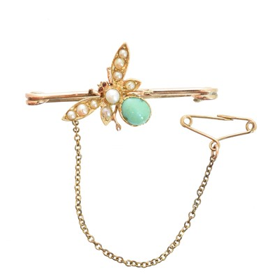 Lot 14-An early 20th century turquoise and split pearl bug brooch